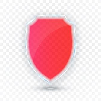Transparenter schild. sicherheitsglas-abzeichen-symbol. schutzschild-konzept.