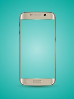 Transparenter schirm des gold-smartphone-modells.
