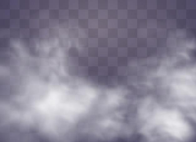 Transparenter spezialeffekt fällt durch nebel oder rauch auf. weiße wolke, nebel oder smog. illustration. weißer farbverlauf auf transparentem hintergrund. regenwetter auf einem transparenten hintergrund.