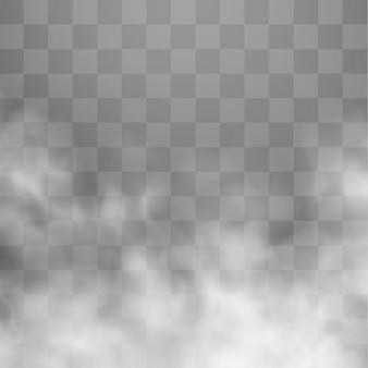 Transparenter spezialeffekt. weiße wolke, nebel oder smog.
