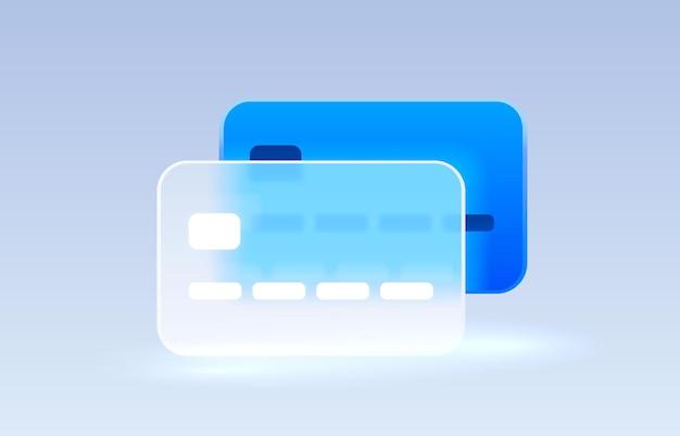 Transparenter symbolsammlungszeichenvektor der glaskreditkarte