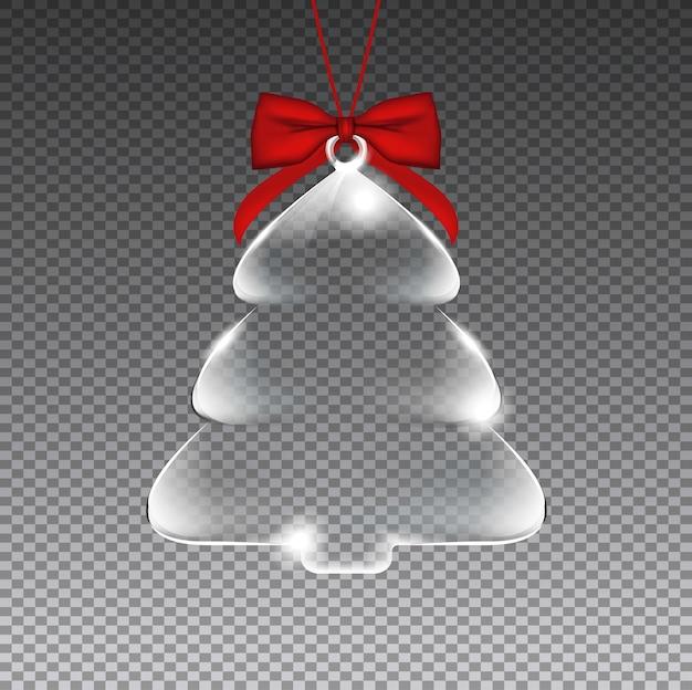 Transparenter weihnachtsbaum aus glas mit rotem band. premium.