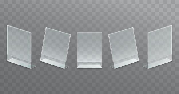 Transparenter werbeständer aus kunststoff, papierhalter.