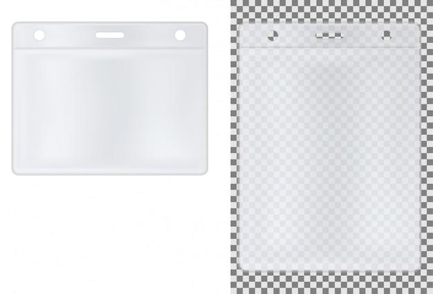Transparentes abzeichen. id-kartenhalter