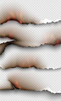 Transparentes design brennende vorlagen zerrissenes papier mit feuer.
