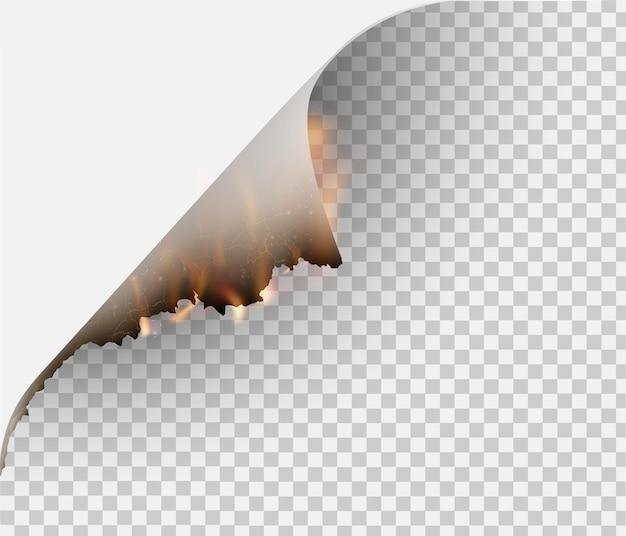 Transparentes design brennschablonen zerrissenes papier mit feuer
