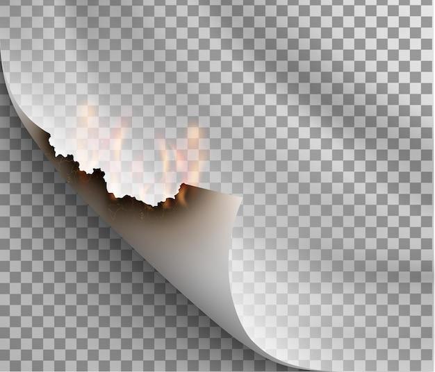 Transparentes design brennschablonen zerrissenes papier mit feuer Premium Vektoren