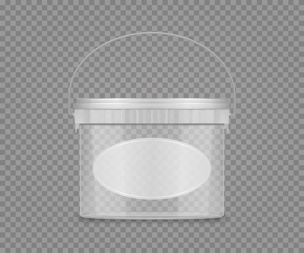 Transparentes eimermodell mit etikett und griff für käse, eis, mayonnaise, joghurt