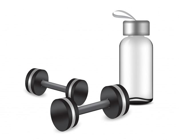 Transparentes flaschenmodell und realistische hanteln