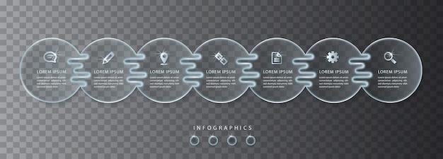 Transparentes glas der ui-vorlage der infografik. ideal für das layout und das prozessdiagramm des banner-workflows für die präsentation von geschäftskonzepten.