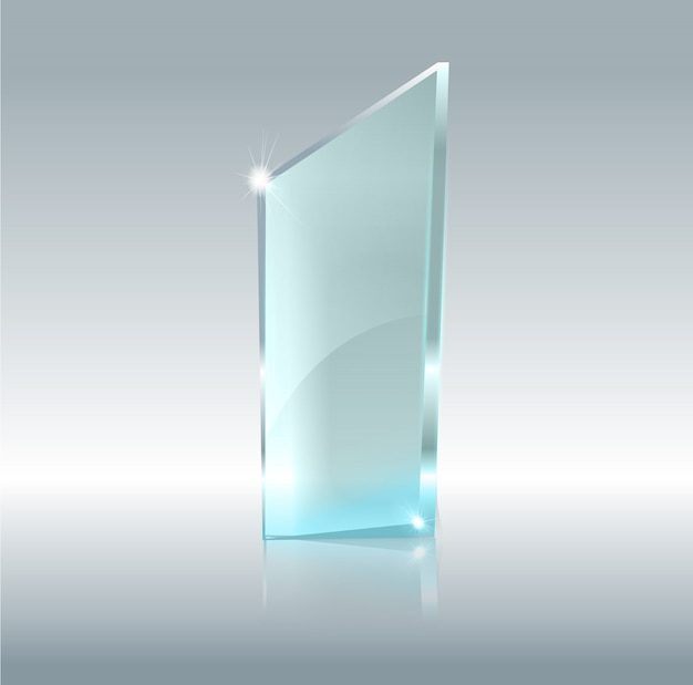 Transparentes glasbanner. glasplatten mit einem platz für inschriften auf transparentem hintergrund isoliert.