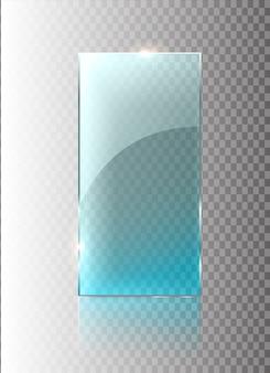 Transparentes glasbanner. glasplatten mit einem platz für inschriften isoliert.