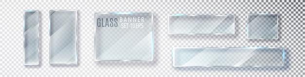 Transparentes horizontales glasbannerset