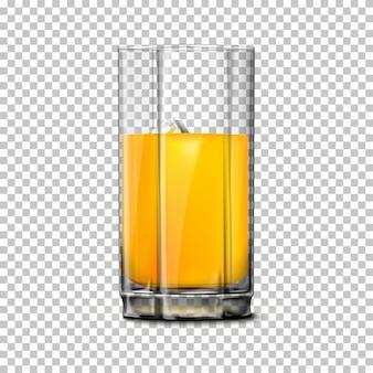 Transparentes realistisches glas lokalisiert auf kariertem hintergrund mit reflexion.