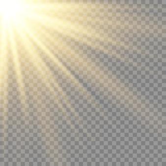 Transparentes sonnenlicht speziallinse blitzlichteffekt.front sonnenlinsenblitz, unschärfe im licht der ausstrahlung. element der einrichtung. horizontale sternstrahlen und suchscheinwerfer.