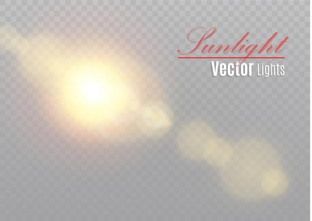 Transparentes sonnenlicht speziallinseneffekt. abstraktes weihnachtsmuster. funkelnde magische staubpartikel