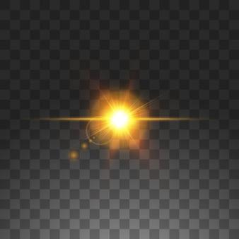 Transparentes sonnenlicht speziallinseneffekt. sonne lokalisiert auf transparentem hintergrund. glühlichteffekt
