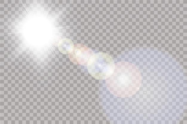 Transparentes sonnenlicht speziallinseneffekt. sonne lokalisiert auf transparentem hintergrund