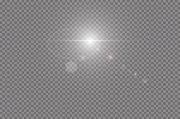 Transparentes sonnenlicht speziallinseneffekt. sonnenblitz mit strahlen und scheinwerfer