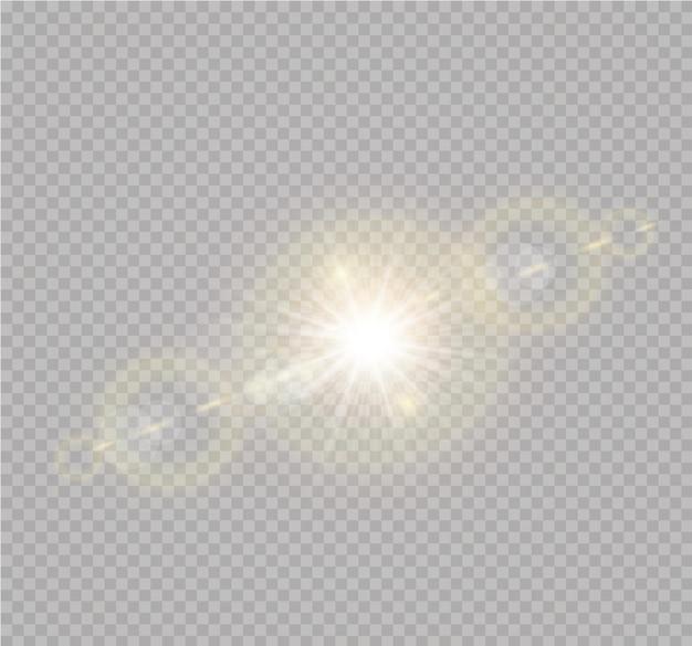 Transparentes sonnenlicht spezialobjektiv blitzlichteffekt.front sonnenlinsenblitz. unschärfe im licht der ausstrahlung. element der einrichtung. horizontale sternstrahlen und suchscheinwerfer.