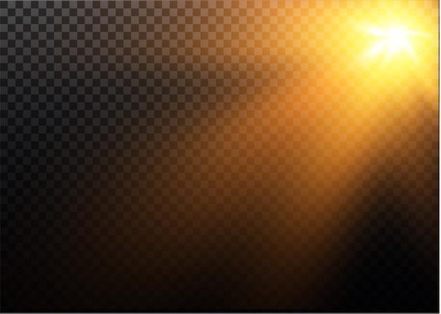 Transparentes sonnenlicht spezialobjektiv blitzlichteffekt.front sonnenlinsenblitz. vektorunschärfe im licht der ausstrahlung. element der einrichtung. horizontale sternstrahlen und suchscheinwerfer.