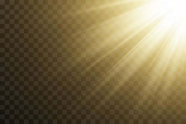 Transparentes sonnenlicht. vektorszene durch scheinwerfer beleuchtet. lichteffekt auf transparentem hintergrund
