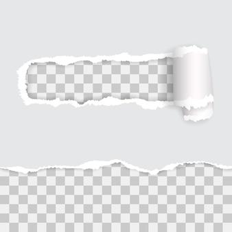 Transparentes zerrissenes papier mit schatten