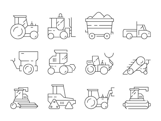 Transport auf dem bauernhof. lineare symbole des landwirtschaftlichen bulldozer-erntemaschinen-traktors der schweren maschinen lokalisiert