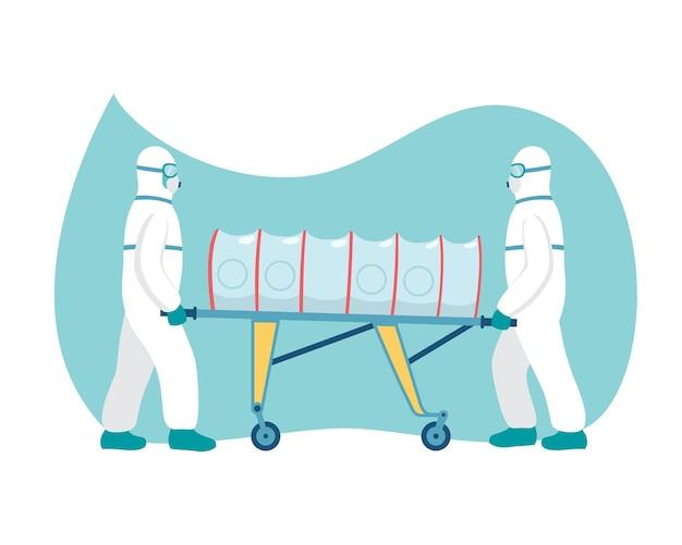 Transport eines mit covid19 infizierten menschen in einer sterilen box auf der bahre-vektorillustration