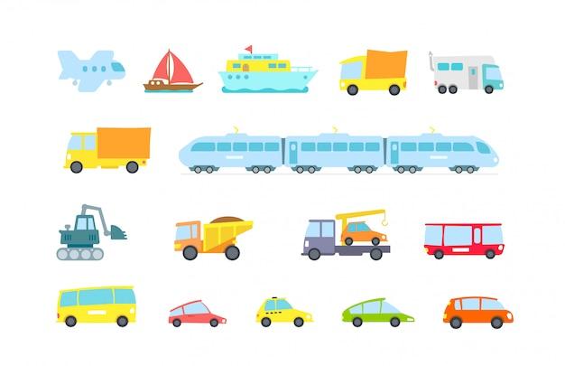 Transport eingestellt. vielzahl von maschinen, methoden, fracht und passagiere.