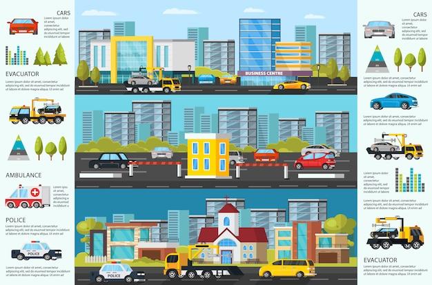 Transport evakuierung infografik Kostenlosen Vektoren