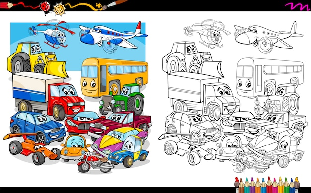 Transport fahrzeuge gruppe malvorlagen