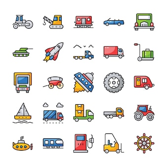 Transport flache icons set