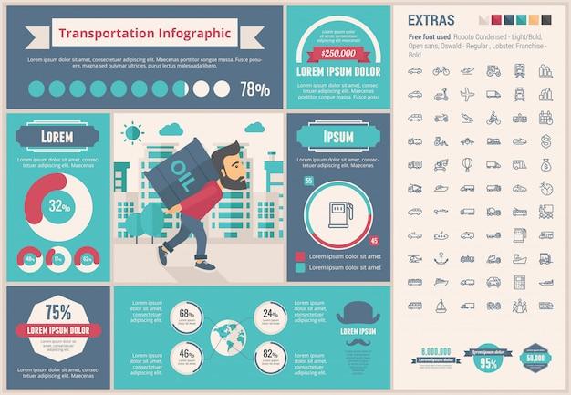 Transport flaches design infographik vorlage