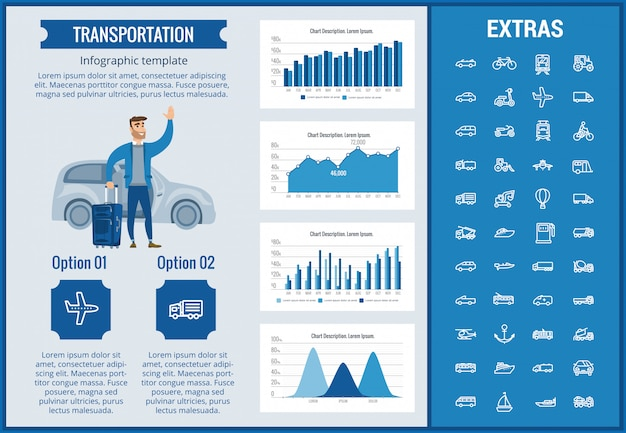 Transport infographik vorlage und elemente