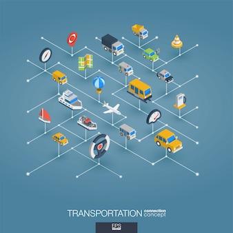 Transport integrierte 3d-web-symbole. isometrisches konzept des digitalen netzwerks.