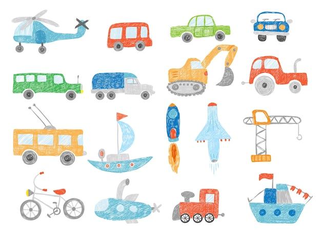 Transport kritzeleien. kinder zeichnen technik traktorwagen flugzeug und schiff vektorbilder isoliert. illustration transportspielzeug skizze, bagger und hubschrauber