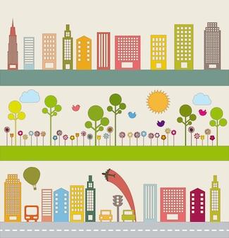 Transport mit Buildigns und Natur-Vektor-Illustration
