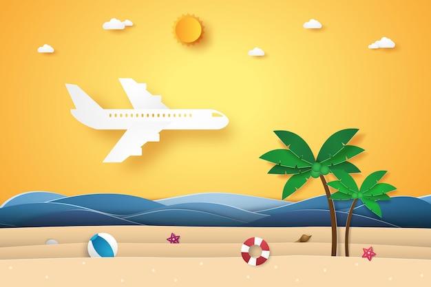 Transport mit dem flugzeug, das für die sommerzeit über das meer fliegt, i papierkunststil