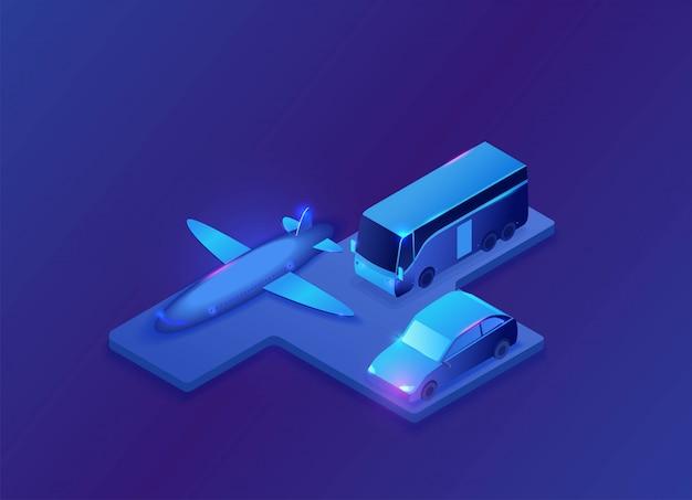Transport mit flugzeug isometrische darstellung
