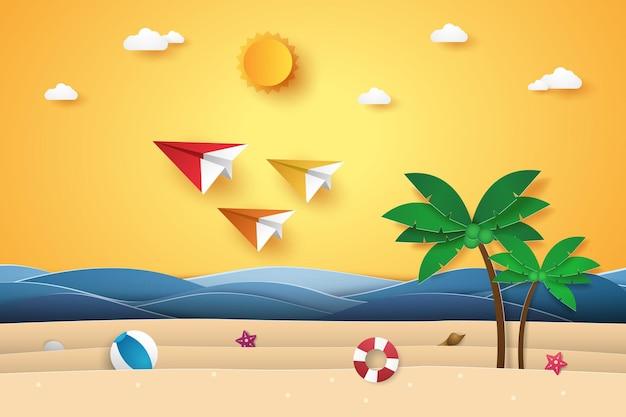 Transport-origami-flugzeuge, die für den sommer im papierkunststil in den himmel fliegen