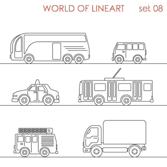 Transport straße taxi van lkw bus trolley bus al line art style set.