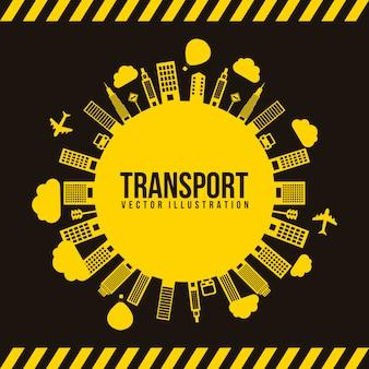 Transport und Stadt schwarz und gelb Vektor illutration