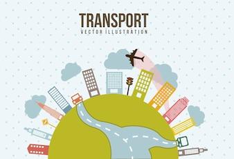 Transport und Stadt Vintage-Stil Vektor-Illustration