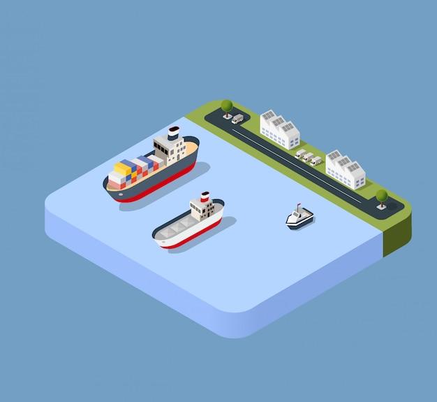 Transport von hafenfrachtschiffen
