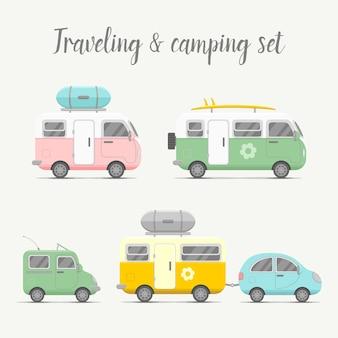 Transport wohnwagen und anhänger set. mobilheim typen illustration. traveller truck flach. sommerreisekonzept des familienreisenden lkw