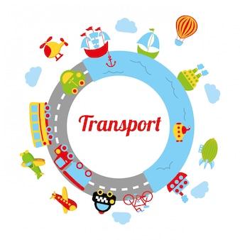 Transportdesign über weißer hintergrundvektorillustration