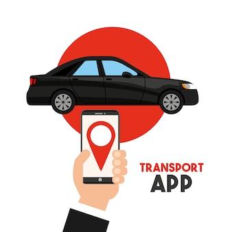 Transportdienst-app-technologie-symbol