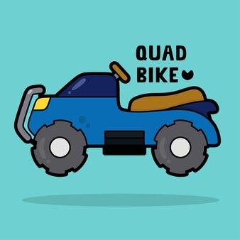 Transportfahrzeug-cartoon mit wortschatz quad-bike