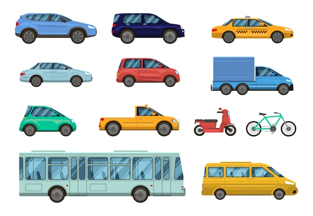 Transportfahrzeug. öffentliche autos, taxi, stadtbus und motorrad, fahrrad. städtischer öffentlicher verkehr der straße, autoseitenansicht-sammlungssatz
